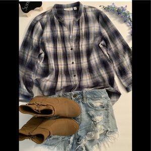 ST JOHN'S BAY woman blouse plaid summer cool
